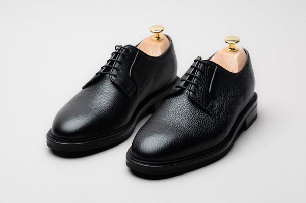 The Plain Toe Blucher - Black Grain