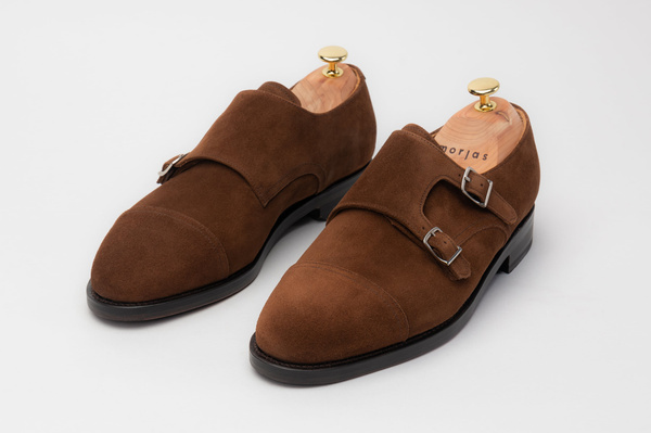 The Double Monkstrap - Medium Brown Suede
